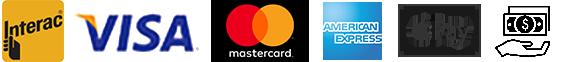 Interac, Visa, MasterCard, American Express, Apple Pay, Cash